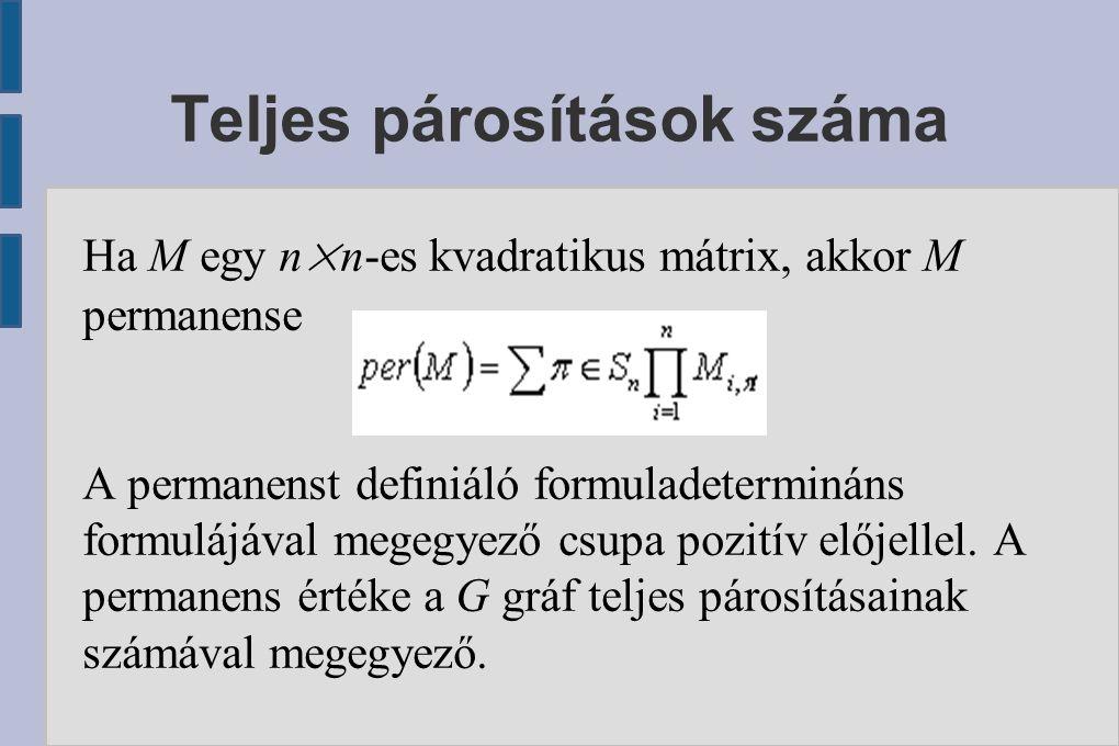 Teljes párosítások száma Ha M egy n×n-es kvadratikus mátrix, akkor M permanense A permanenst definiáló formuladetermináns formulájával megegyező csupa