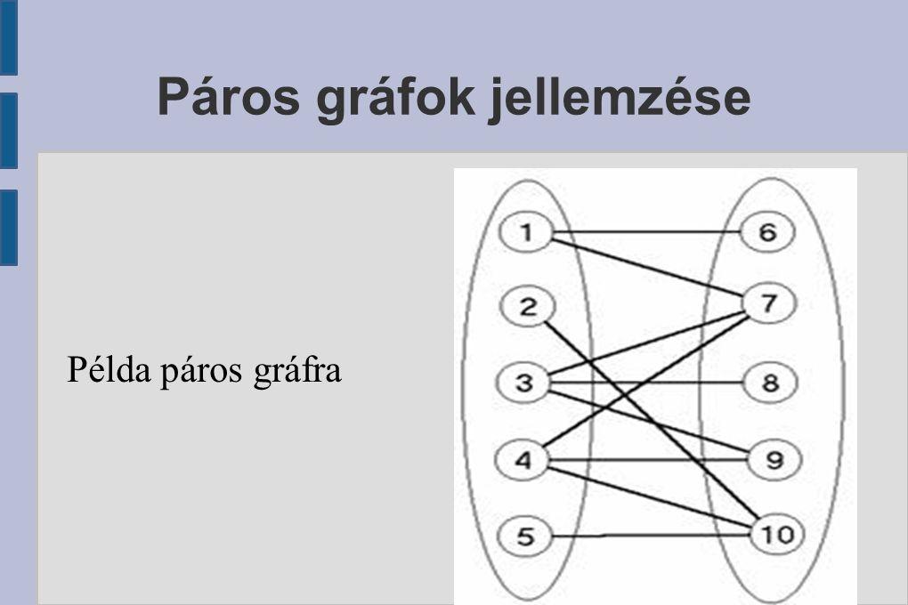 Páros gráfok jellemzése Példa páros gráfra