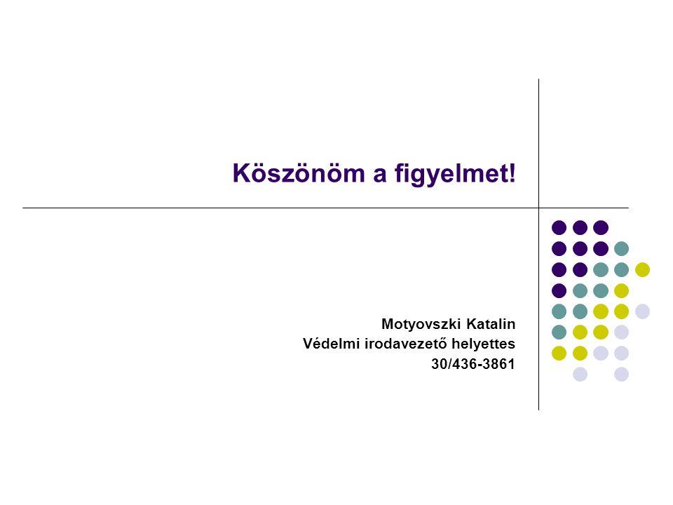 Köszönöm a figyelmet! Motyovszki Katalin Védelmi irodavezető helyettes 30/436-3861