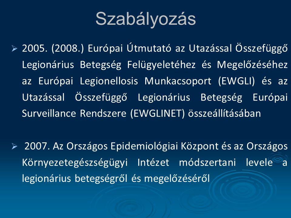 Szabályozás   2005. (2008.) Európai Útmutató az Utazással Összefüggő Legionárius Betegség Felügyeletéhez és Megelőzéséhez az Európai Legionellosis M