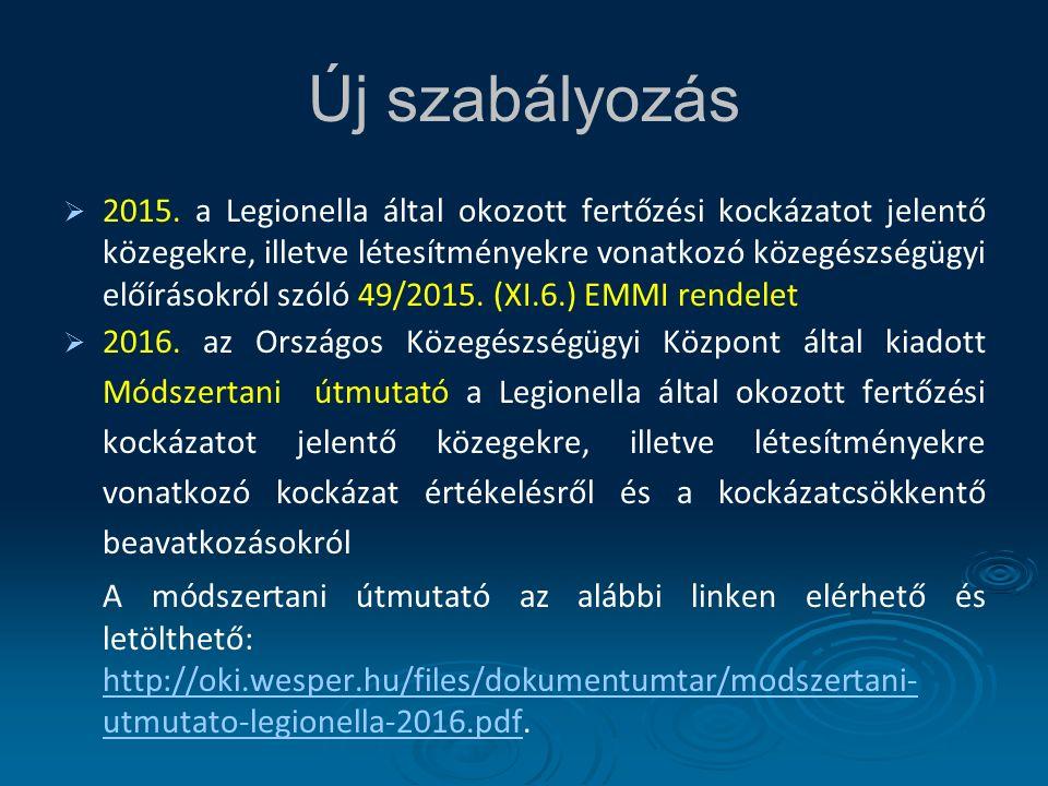   2015. a Legionella által okozott fertőzési kockázatot jelentő közegekre, illetve létesítményekre vonatkozó közegészségügyi előírásokról szóló 49/2