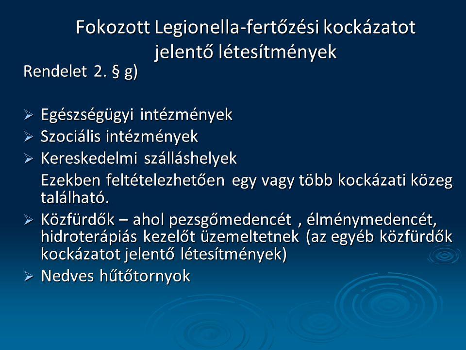 Fokozott Legionella-fertőzési kockázatot jelentő létesítmények Rendelet 2. § g)  Egészségügyi intézmények  Szociális intézmények  Kereskedelmi szál