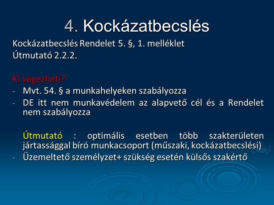 4. Kockázatbecslés Kockázatbecslés Rendelet 5. §, 1.