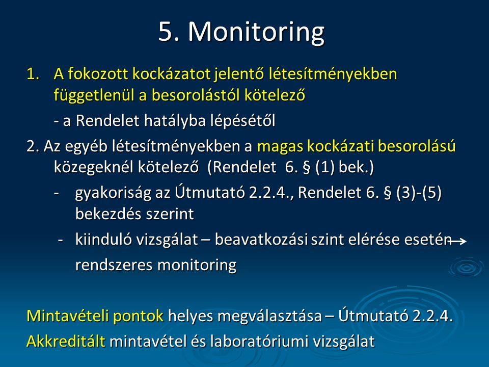 5. Monitoring 1.A fokozott kockázatot jelentő létesítményekben függetlenül a besorolástól kötelező - a Rendelet hatályba lépésétől 2. Az egyéb létesít