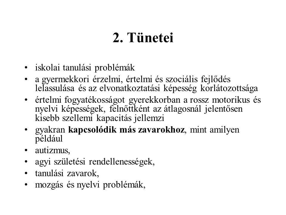 2. Tünetei iskolai tanulási problémák a gyermekkori érzelmi, értelmi és szociális fejlődés lelassulása és az elvonatkoztatási képesség korlátozottsága