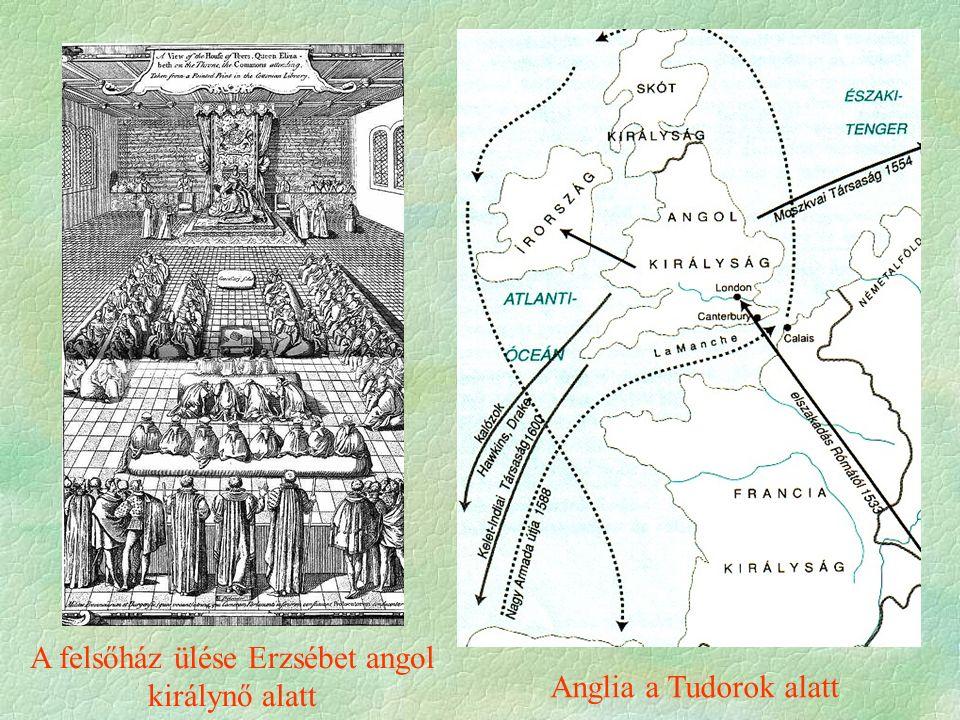 A felsőház ülése Erzsébet angol királynő alatt Anglia a Tudorok alatt