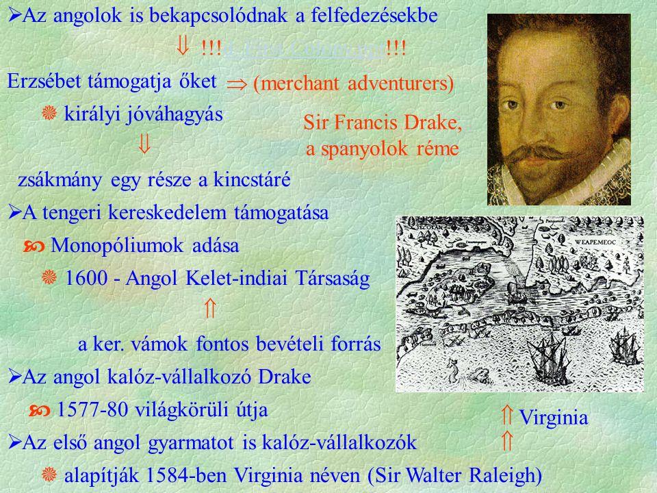  Az angolok is bekapcsolódnak a felfedezésekbe  !!!d First Colony.ppt!!!d First Colony.ppt Erzsébet támogatja őket  királyi jóváhagyás  zsákmány e