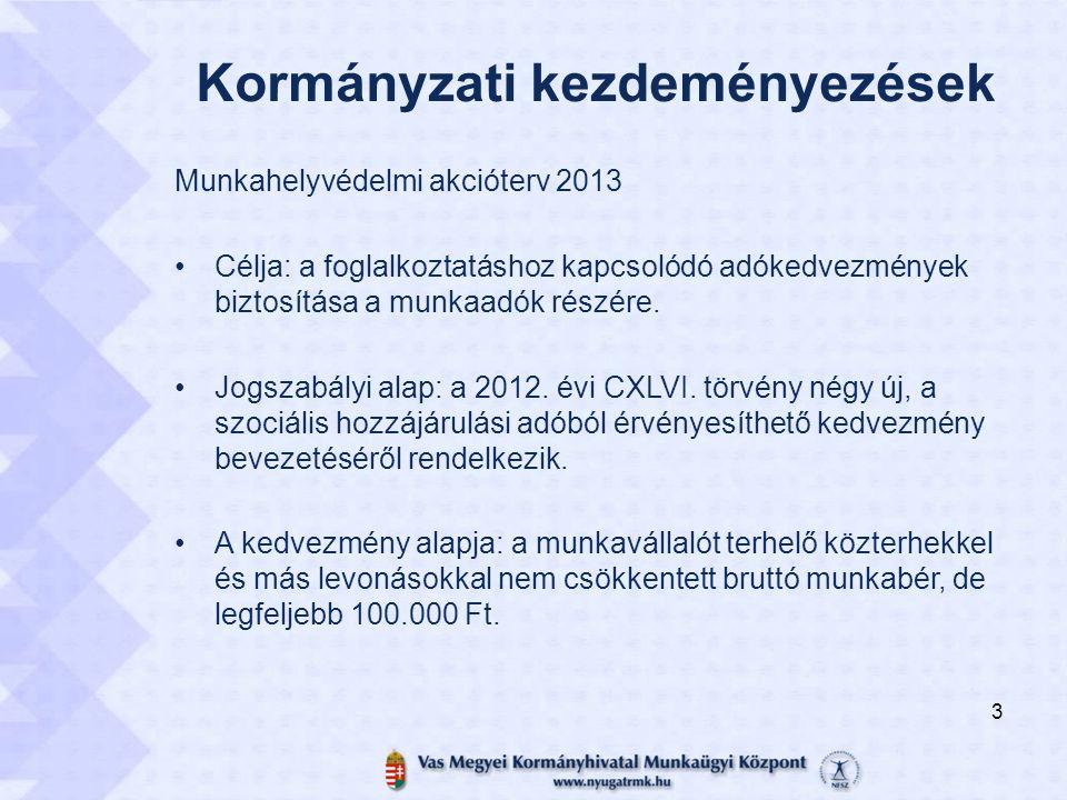 Kormányzati kezdeményezések Munkahelyvédelmi akcióterv 2013 Célja: a foglalkoztatáshoz kapcsolódó adókedvezmények biztosítása a munkaadók részére. Jog