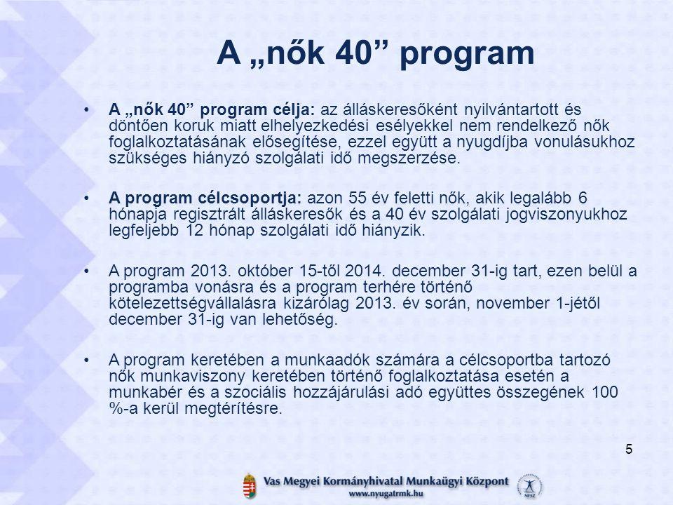 """A """"nők 40"""" program A """"nők 40"""" program célja: az álláskeresőként nyilvántartott és döntően koruk miatt elhelyezkedési esélyekkel nem rendelkező nők fog"""