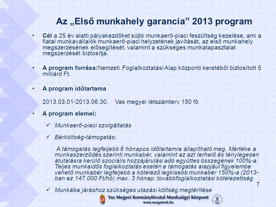 """Az """"Első munkahely garancia"""" 2013 program Cél a 25 év alatti pályakezdőket sújtó munkaerő-piaci feszültség kezelése, ami a fiatal munkavállalók munkae"""