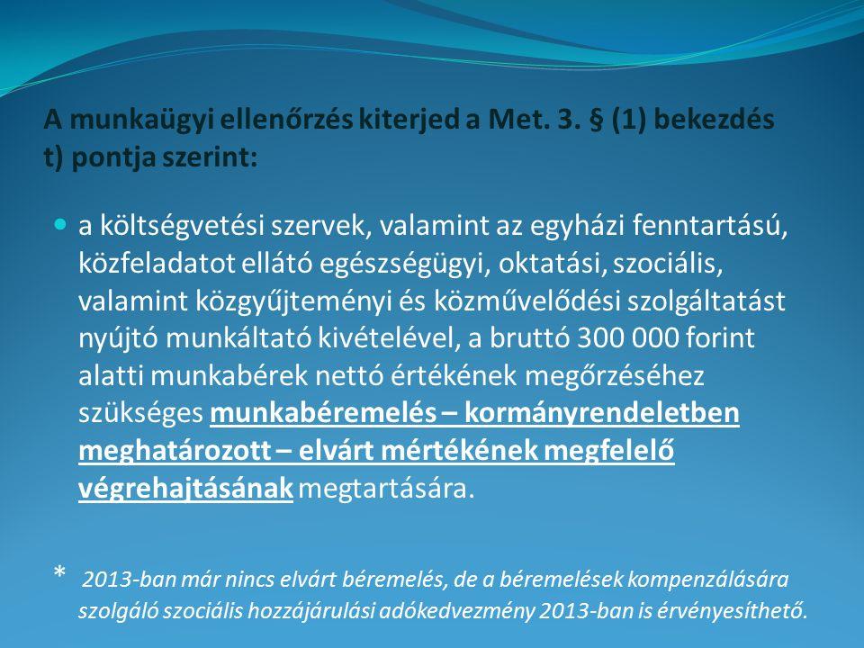 A munkaügyi ellenőrzés kiterjed a Met. 3. § (1) bekezdés t) pontja szerint: a költségvetési szervek, valamint az egyházi fenntartású, közfeladatot ell