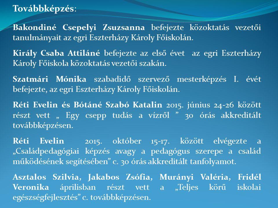 Továbbképzés: Bakondiné Csepelyi Zsuzsanna befejezte közoktatás vezetői tanulmányait az egri Eszterházy Károly Főiskolán.