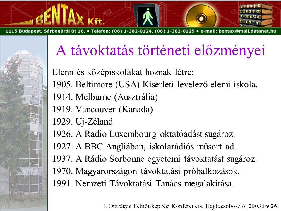 A távoktatás történeti előzményei Elemi és középiskolákat hoznak létre: 1905.