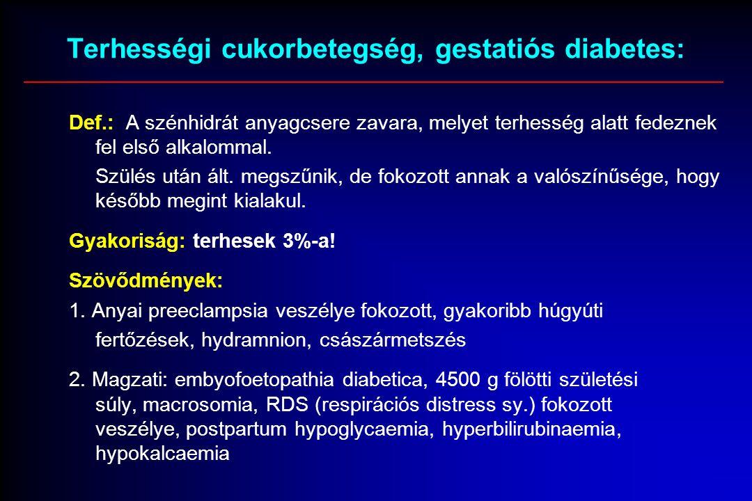 Terhességi cukorbetegség, gestatiós diabetes: Def.: A szénhidrát anyagcsere zavara, melyet terhesség alatt fedeznek fel első alkalommal.