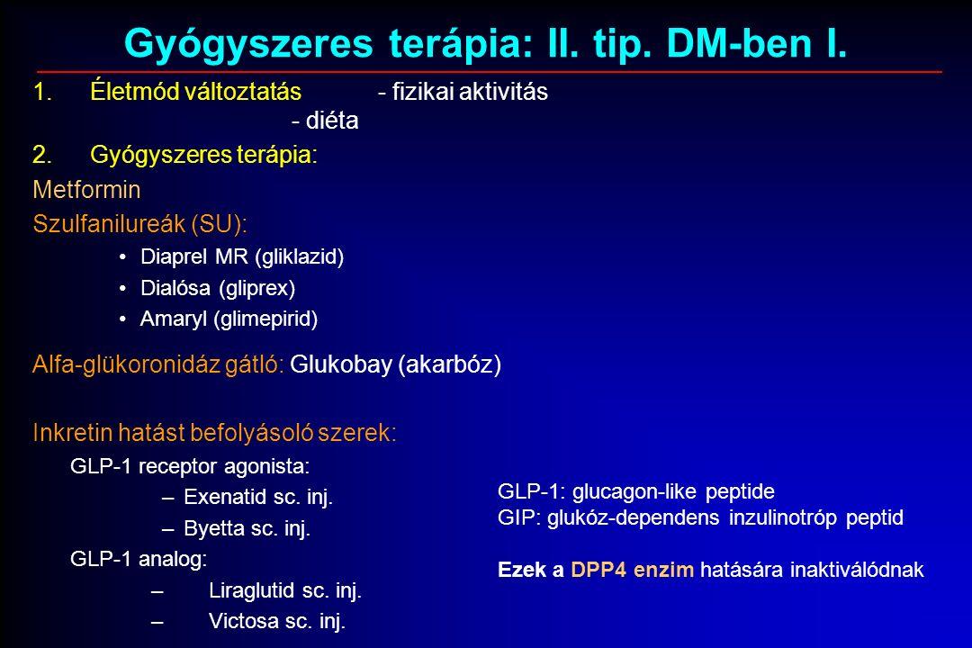 Gyógyszeres terápia: II. tip. DM-ben I.