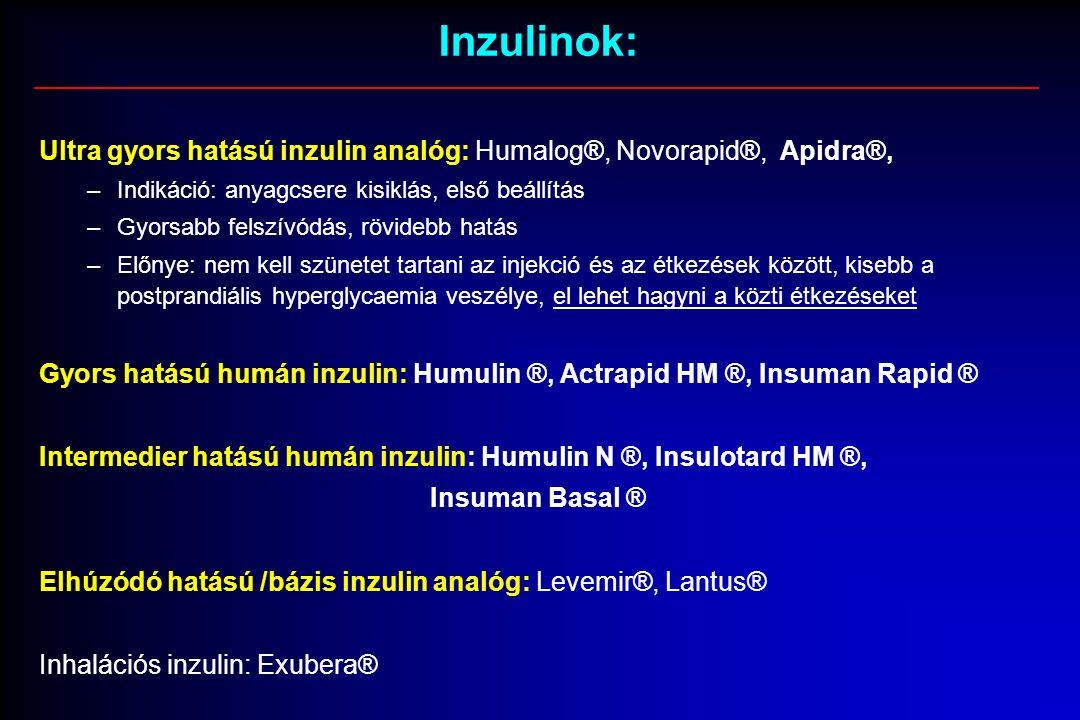 Inzulinok: Ultra gyors hatású inzulin analóg: Humalog®, Novorapid®, Apidra®, –Indikáció: anyagcsere kisiklás, első beállítás –Gyorsabb felszívódás, rövidebb hatás –Előnye: nem kell szünetet tartani az injekció és az étkezések között, kisebb a postprandiális hyperglycaemia veszélye, el lehet hagyni a közti étkezéseket Gyors hatású humán inzulin: Humulin ®, Actrapid HM ®, Insuman Rapid ® Intermedier hatású humán inzulin: Humulin N ®, Insulotard HM ®, Insuman Basal ® Elhúzódó hatású /bázis inzulin analóg: Levemir®, Lantus® Inhalációs inzulin: Exubera®
