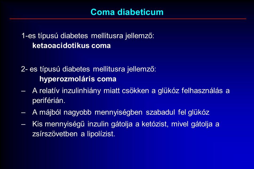 Coma diabeticum 1-es típusú diabetes mellitusra jellemző: ketaoacidotikus coma 2- es típusú diabetes mellitusra jellemző: hyperozmoláris coma –A relatív inzulinhiány miatt csökken a glükóz felhasználás a periférián.