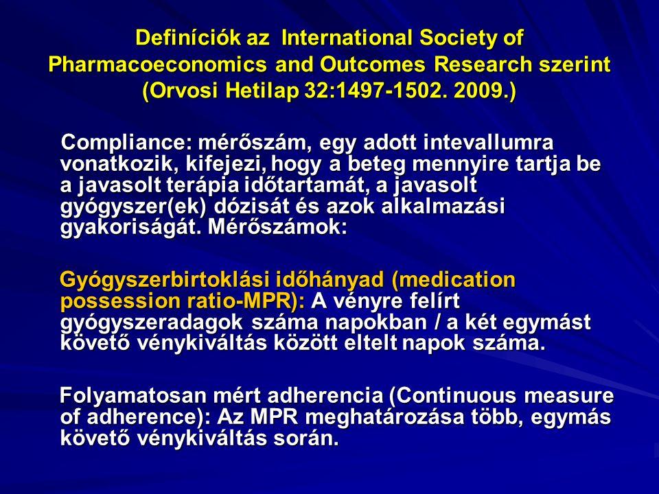 Definíciók az International Society of Pharmacoeconomics and Outcomes Research szerint (Orvosi Hetilap 32:1497-1502. 2009.) Compliance: mérőszám, egy