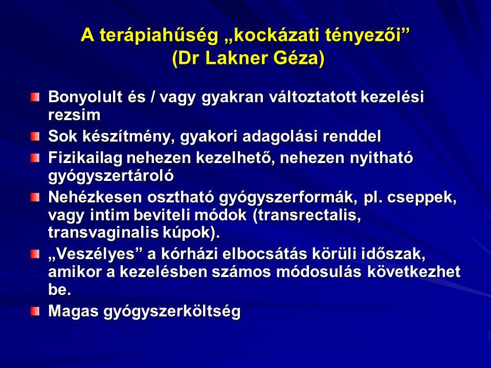 """A terápiahűség """"kockázati tényezői"""" (Dr Lakner Géza) Bonyolult és / vagy gyakran változtatott kezelési rezsim Sok készítmény, gyakori adagolási rendde"""