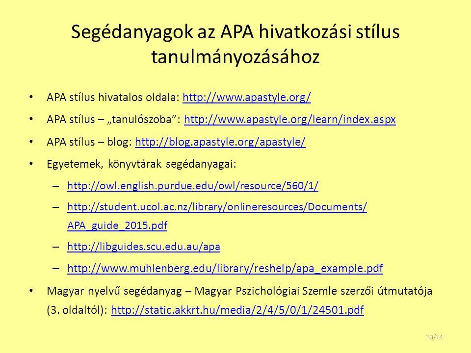 """Segédanyagok az APA hivatkozási stílus tanulmányozásához APA stílus hivatalos oldala: http://www.apastyle.org/http://www.apastyle.org/ APA stílus – """"t"""