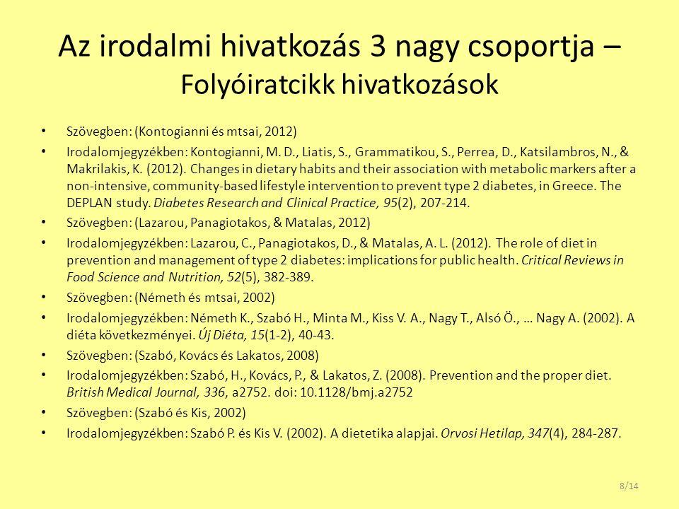 Az irodalmi hivatkozás 3 nagy csoportja – Folyóiratcikk hivatkozások Szövegben: (Kontogianni és mtsai, 2012) Irodalomjegyzékben: Kontogianni, M. D., L