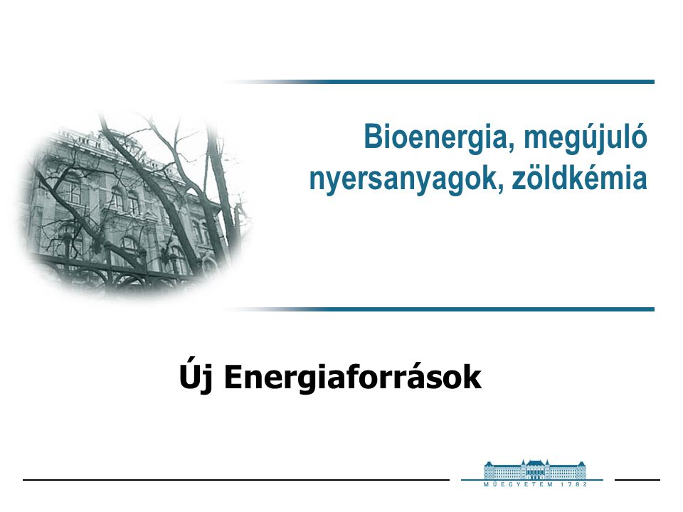 Bioenergia, megújuló nyersanyagok, zöldkémia Új Energiaforrások