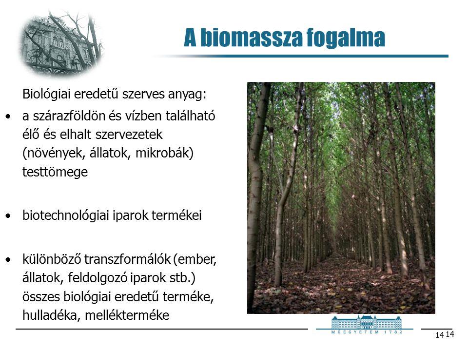 14 A biomassza fogalma Biológiai eredetű szerves anyag: a szárazföldön és vízben található élő és elhalt szervezetek (növények, állatok, mikrobák) testtömege biotechnológiai iparok termékei különböző transzformálók (ember, állatok, feldolgozó iparok stb.) összes biológiai eredetű terméke, hulladéka, mellékterméke