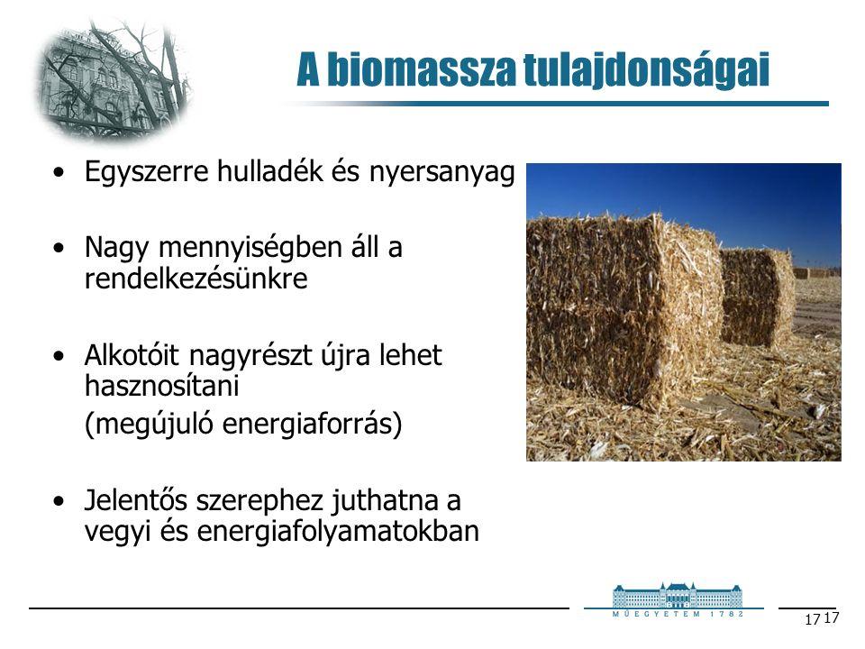 17 A biomassza tulajdonságai Egyszerre hulladék és nyersanyag Nagy mennyiségben áll a rendelkezésünkre Alkotóit nagyrészt újra lehet hasznosítani (megújuló energiaforrás) Jelentős szerephez juthatna a vegyi és energiafolyamatokban