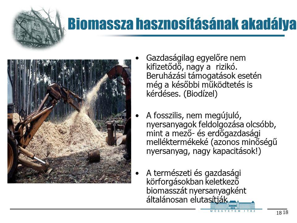 18 Biomassza hasznosításának akadálya Gazdaságilag egyelőre nem kifizetődő, nagy a rizikó.