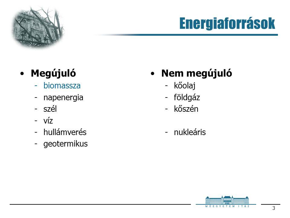 3 Energiaforrások Megújuló biomassza napenergia szél víz hullámverés geotermikus Nem megújuló kőolaj földgáz kőszén nukleáris