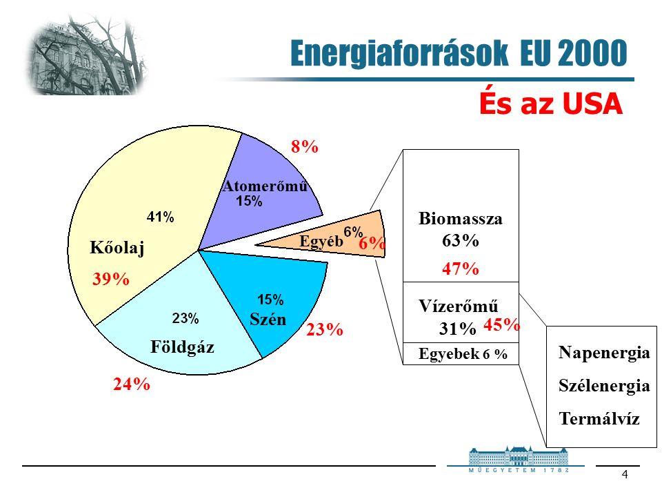 5 Villamosenergia termelés 2000 ben Fosszilis energia - forráson alapul 84,9 % 33,7 % 26,2 % 18,7 % 6,3 % 12,5% 1,6 % 0,9 % 0,2 % 0,02 % 0,004 %