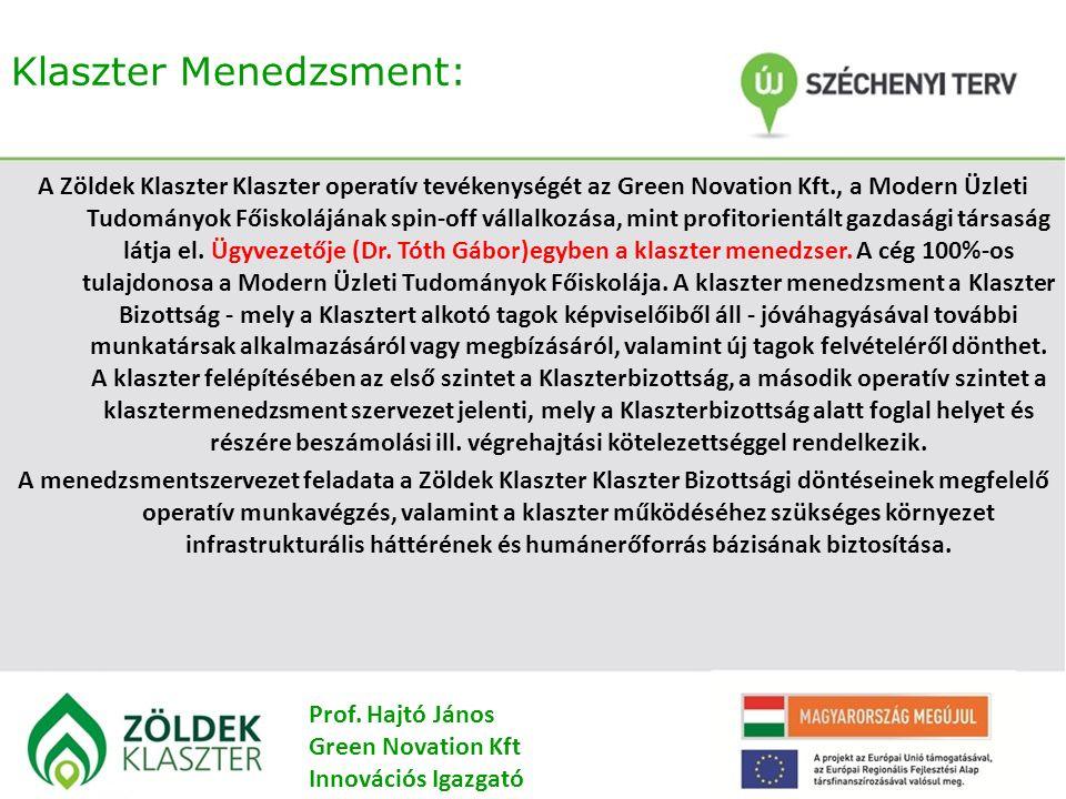 Klaszter Menedzsment: A Zöldek Klaszter Klaszter operatív tevékenységét az Green Novation Kft., a Modern Üzleti Tudományok Főiskolájának spin-off vállalkozása, mint profitorientált gazdasági társaság látja el.