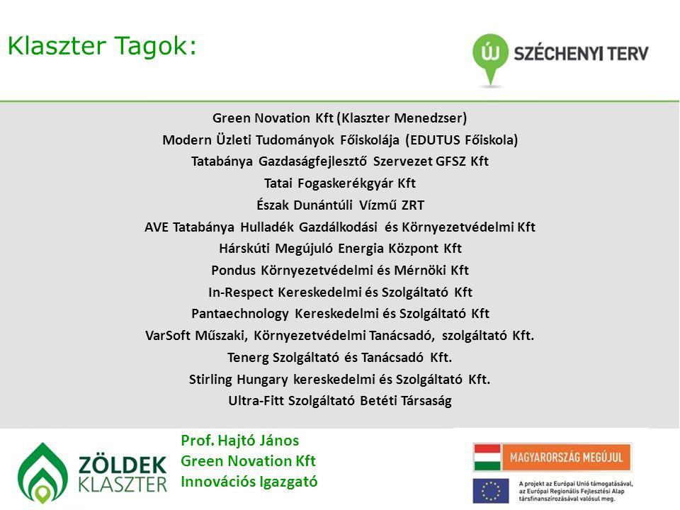 Klaszter Tagok: Green Novation Kft (Klaszter Menedzser) Modern Üzleti Tudományok Főiskolája (EDUTUS Főiskola) Tatabánya Gazdaságfejlesztő Szervezet GFSZ Kft Tatai Fogaskerékgyár Kft Észak Dunántúli Vízmű ZRT AVE Tatabánya Hulladék Gazdálkodási és Környezetvédelmi Kft Hárskúti Megújuló Energia Központ Kft Pondus Környezetvédelmi és Mérnöki Kft In-Respect Kereskedelmi és Szolgáltató Kft Pantaechnology Kereskedelmi és Szolgáltató Kft VarSoft Műszaki, Környezetvédelmi Tanácsadó, szolgáltató Kft.