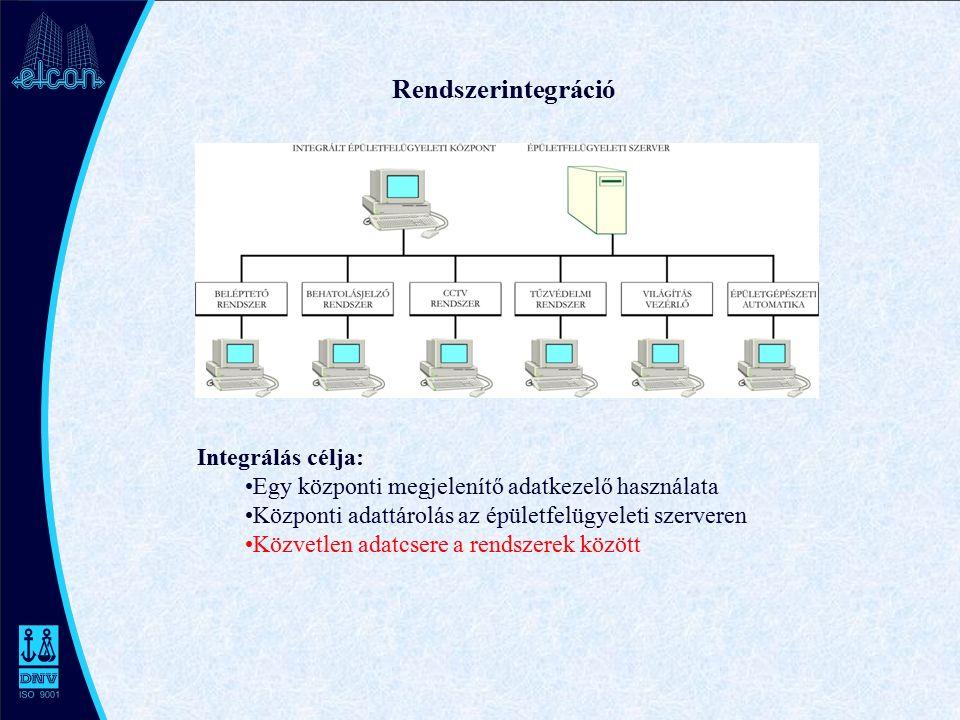 Rendszerintegráció Integrálás célja: Egy központi megjelenítő adatkezelő használata Központi adattárolás az épületfelügyeleti szerveren Közvetlen adatcsere a rendszerek között