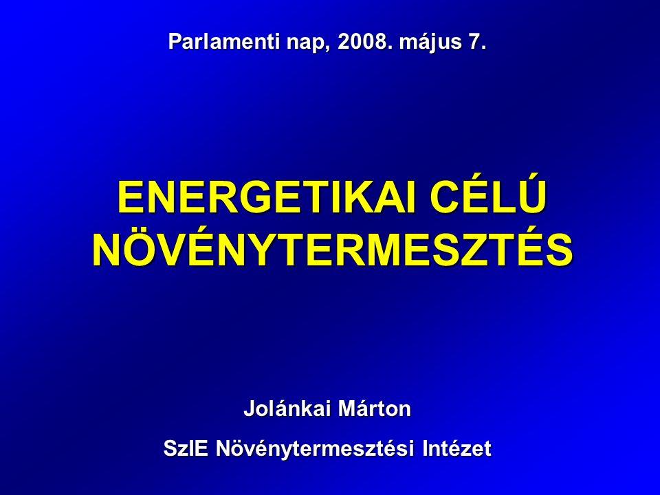 ENERGETIKAI CÉLÚ NÖVÉNYTERMESZTÉS Parlamenti nap, 2008.