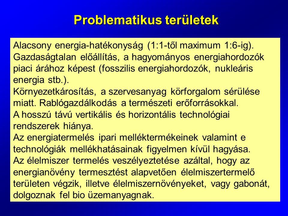 Alacsony energia-hatékonyság (1:1-től maximum 1:6-ig).