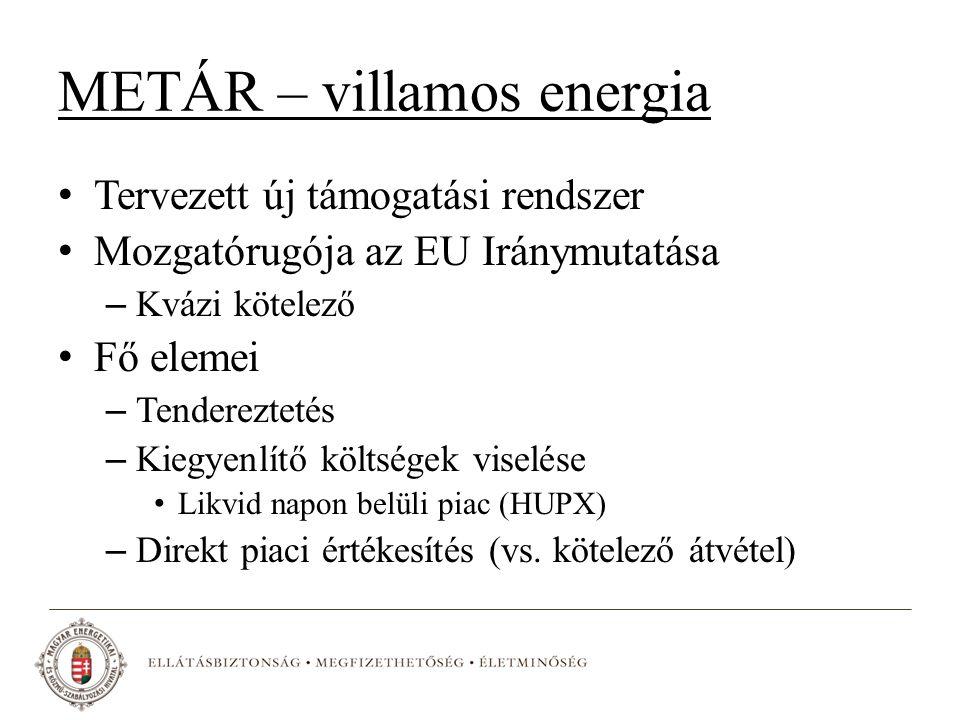METÁR – villamos energia Tervezett új támogatási rendszer Mozgatórugója az EU Iránymutatása – Kvázi kötelező Fő elemei – Tendereztetés – Kiegyenlítő költségek viselése Likvid napon belüli piac (HUPX) – Direkt piaci értékesítés (vs.