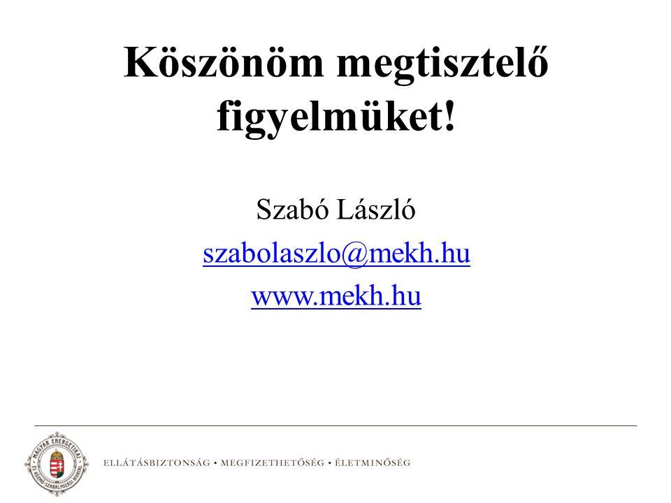 Köszönöm megtisztelő figyelmüket! Szabó László szabolaszlo@mekh.hu www.mekh.hu