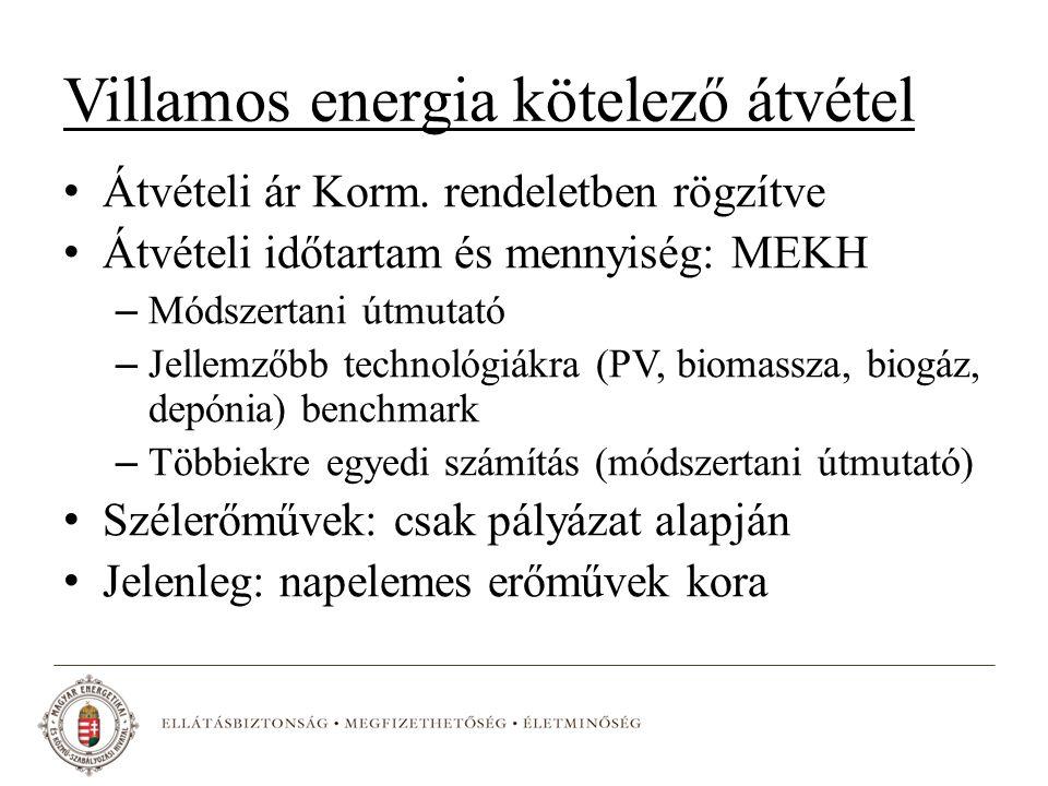Villamos energia kötelező átvétel Átvételi ár Korm.