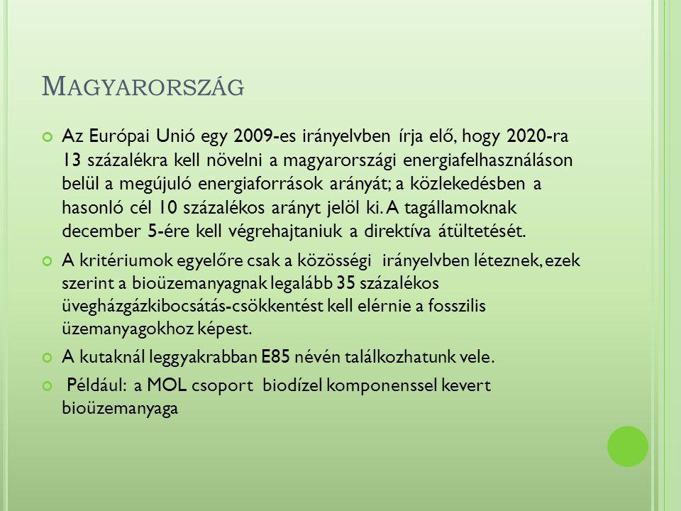 M AGYARORSZÁG Az Európai Unió egy 2009-es irányelvben írja elő, hogy 2020-ra 13 százalékra kell növelni a magyarországi energiafelhasználáson belül a megújuló energiaforrások arányát; a közlekedésben a hasonló cél 10 százalékos arányt jelöl ki.