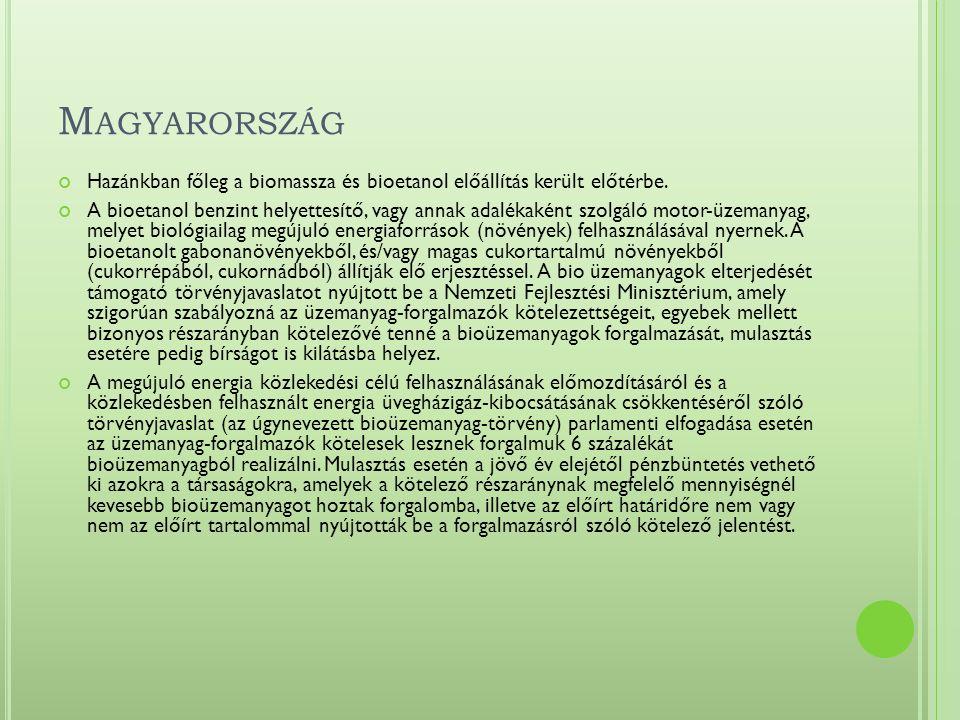 M AGYARORSZÁG Hazánkban főleg a biomassza és bioetanol előállítás került előtérbe.