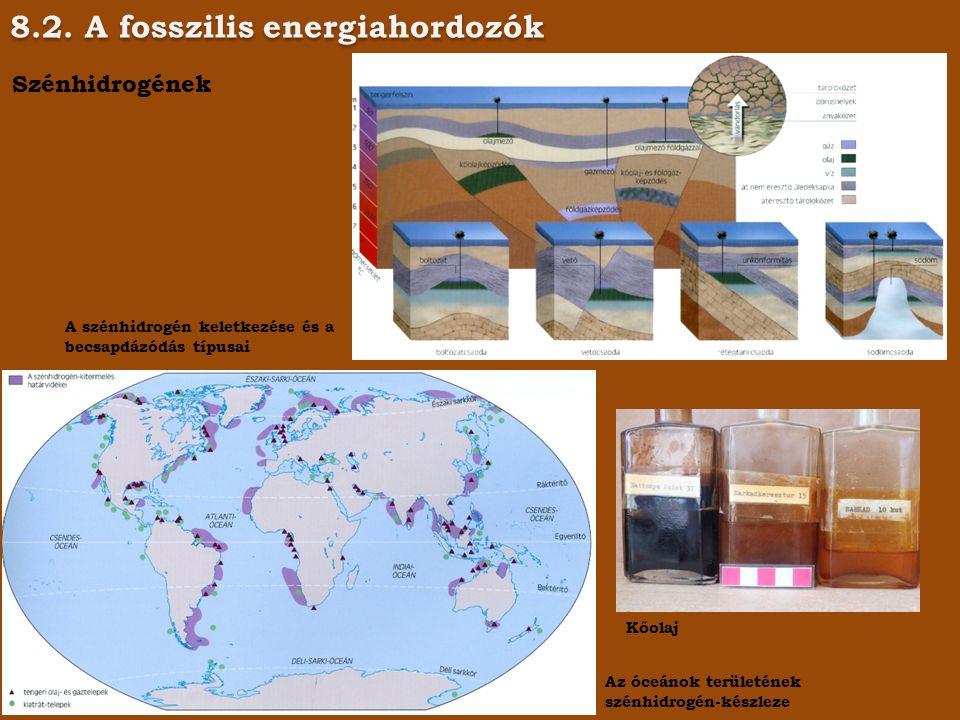 8.2. A fosszilis energiahordozók Szénhidrogének A szénhidrogén keletkezése és a becsapdázódás típusai Az óceánok területének szénhidrogén-készleze Kőo