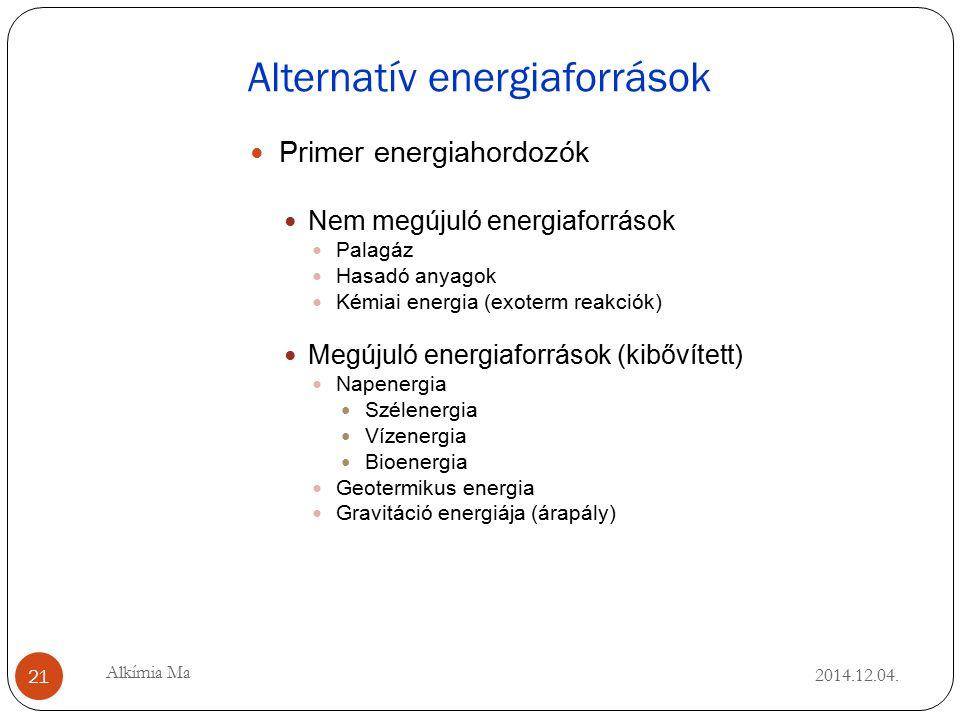 Alternatív energiaforrások 2014.12.04.