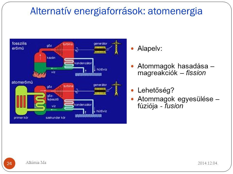 Alternatív energiaforrások: atomenergia 2014.12.04.
