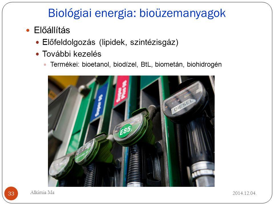 Biológiai energia: bioüzemanyagok 2014.12.04.