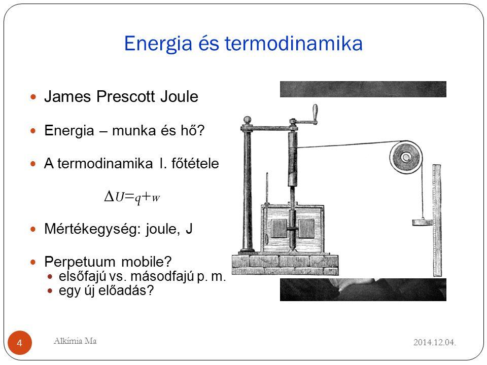 Energia és termodinamika 2014.12.04. James Prescott Joule Energia – munka és hő.