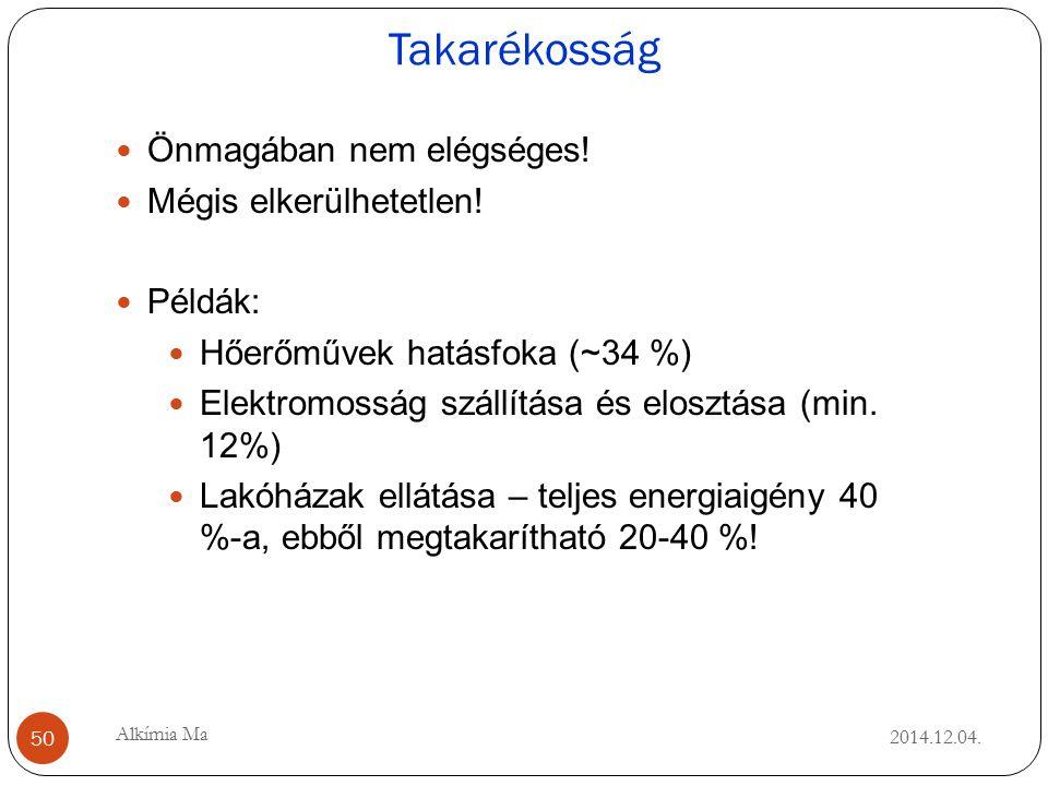 Takarékosság 2014.12.04. 50 Alkímia Ma Önmagában nem elégséges.