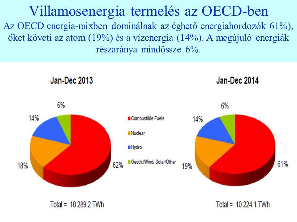 23 Villamosenergia termelés az OECD-ben Az OECD energia-mixben dominálnak az éghető energiahordozók 61%), őket követi az atom (19%) és a vízenergia (14%).