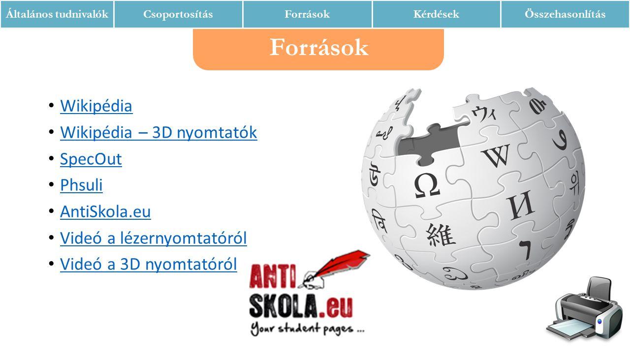 Források Általános tudnivalókCsoportosításForrásokKérdésekÖsszehasonlítás Wikipédia Wikipédia – 3D nyomtatók SpecOut Phsuli AntiSkola.eu Videó a lézernyomtatóról Videó a 3D nyomtatóról