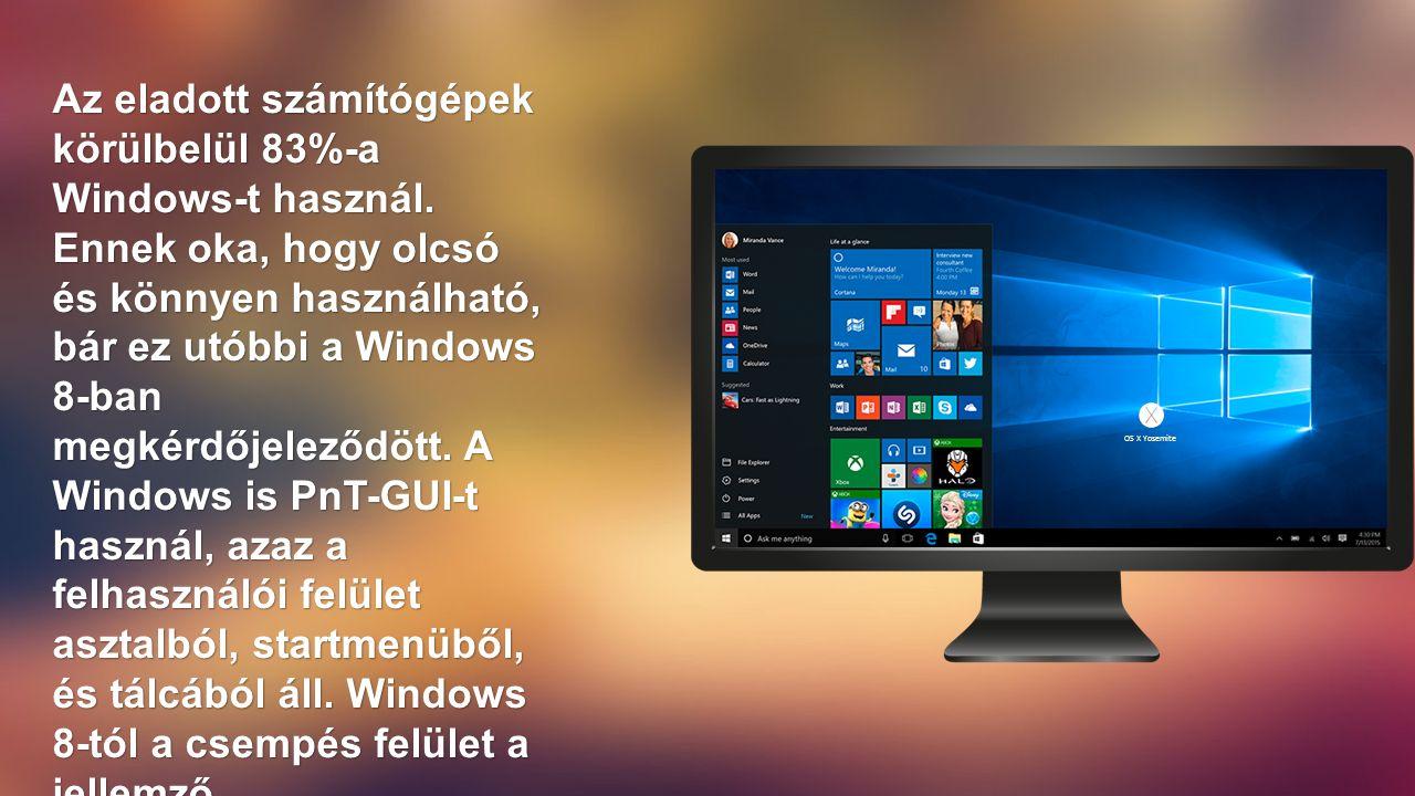 Az eladott számítógépek körülbelül 83%-a Windows-t használ.